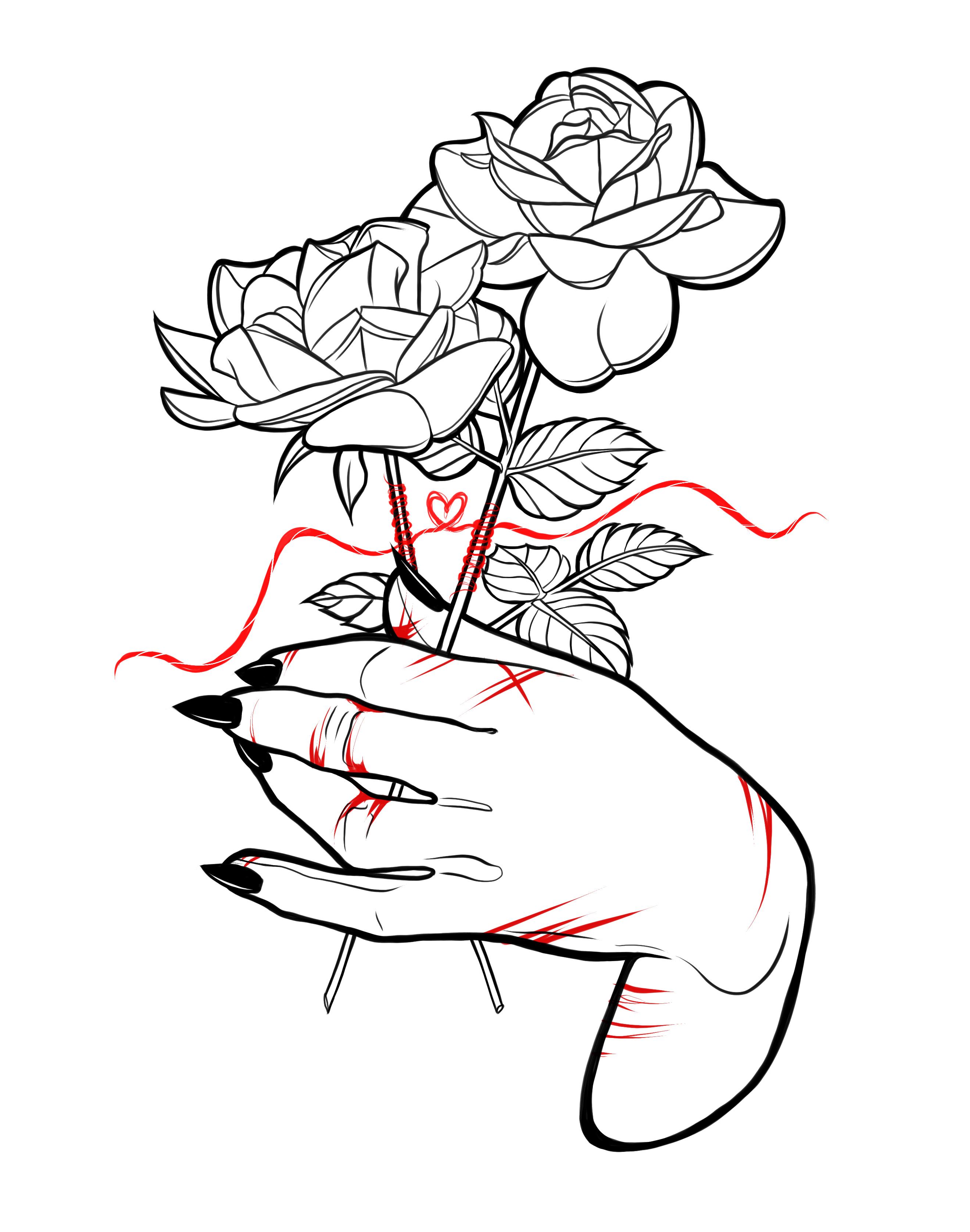 rose hand cut sketch