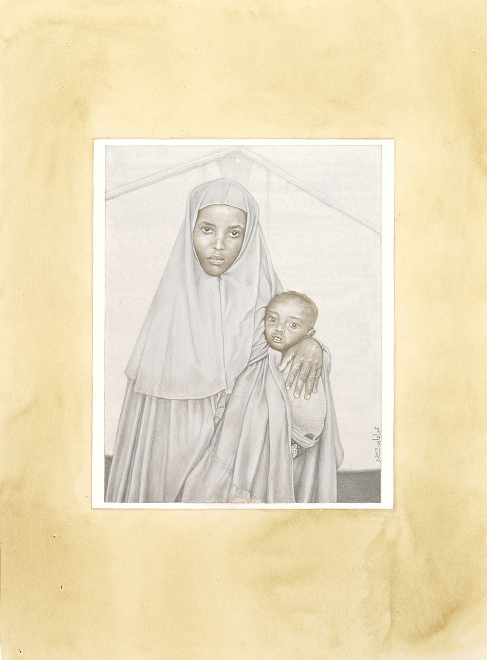 Title: Sofia Hassan Mahmood and Isaac Mahmood, Ages unknown, Somalia  Medium: Gouache, tea wash, and pigments on handmade wasli paper Dimensions: 7.75 x 6.25 inches unframed year: 2017