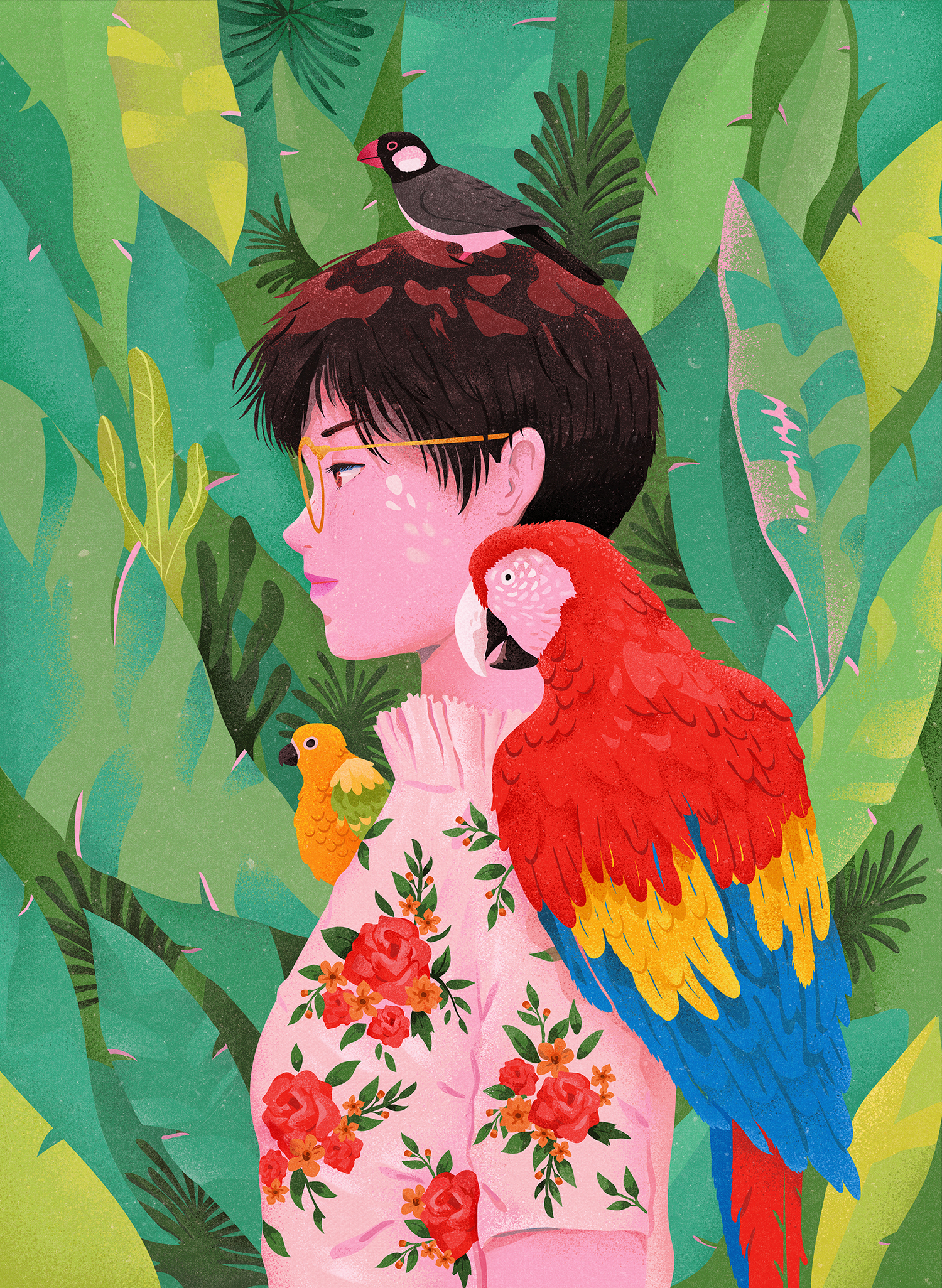 girl and parrots