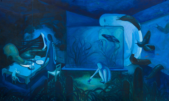 GirlsclubAsia-Artist-Zhongwen-Hu-01sml_Fishtank_36_x60__Acrylic on Masonite_2016