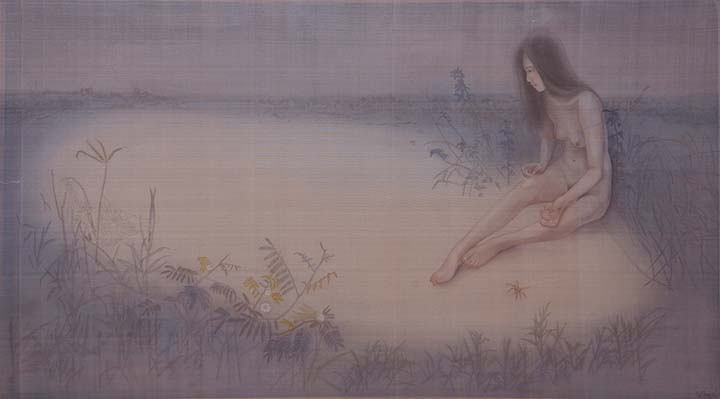GirlsclubAsia-Artist-LeThuy-Vietnam-On the blue river _78x138cm_2016_silk painting