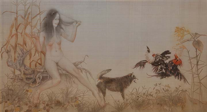GirlsclubAsia-Artist-LeThuy-Vietnam-story in the garden_78x138cm_2016_silk painting