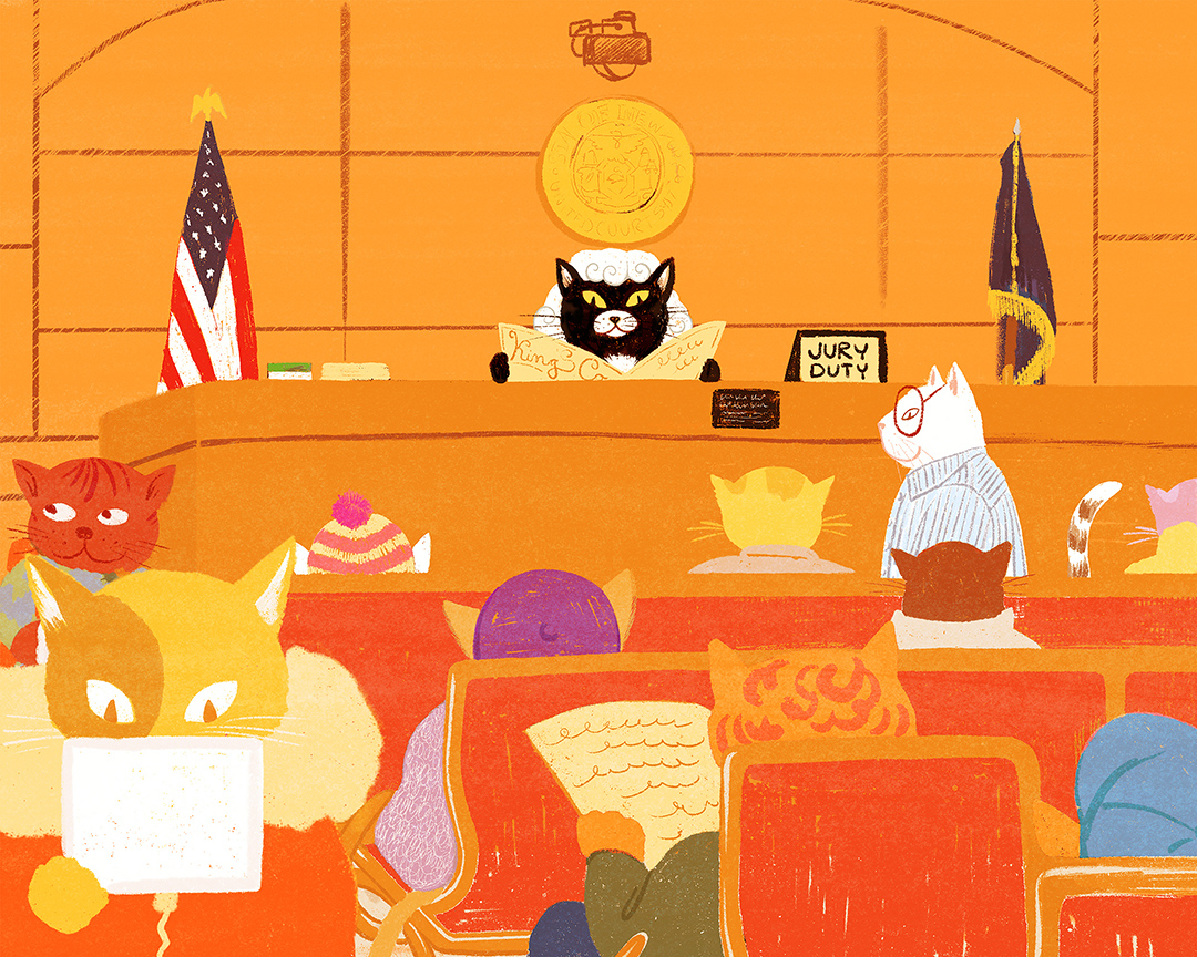 Girlsclub-Asia-Lily Qian-Le Kitty Law and Order - Children's book illustration