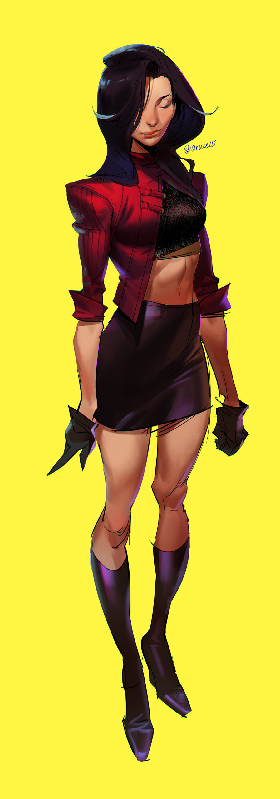 GirlsclubAsia-ConceptArtist-Illustrator- Knight Zhang-stylized girl_neon
