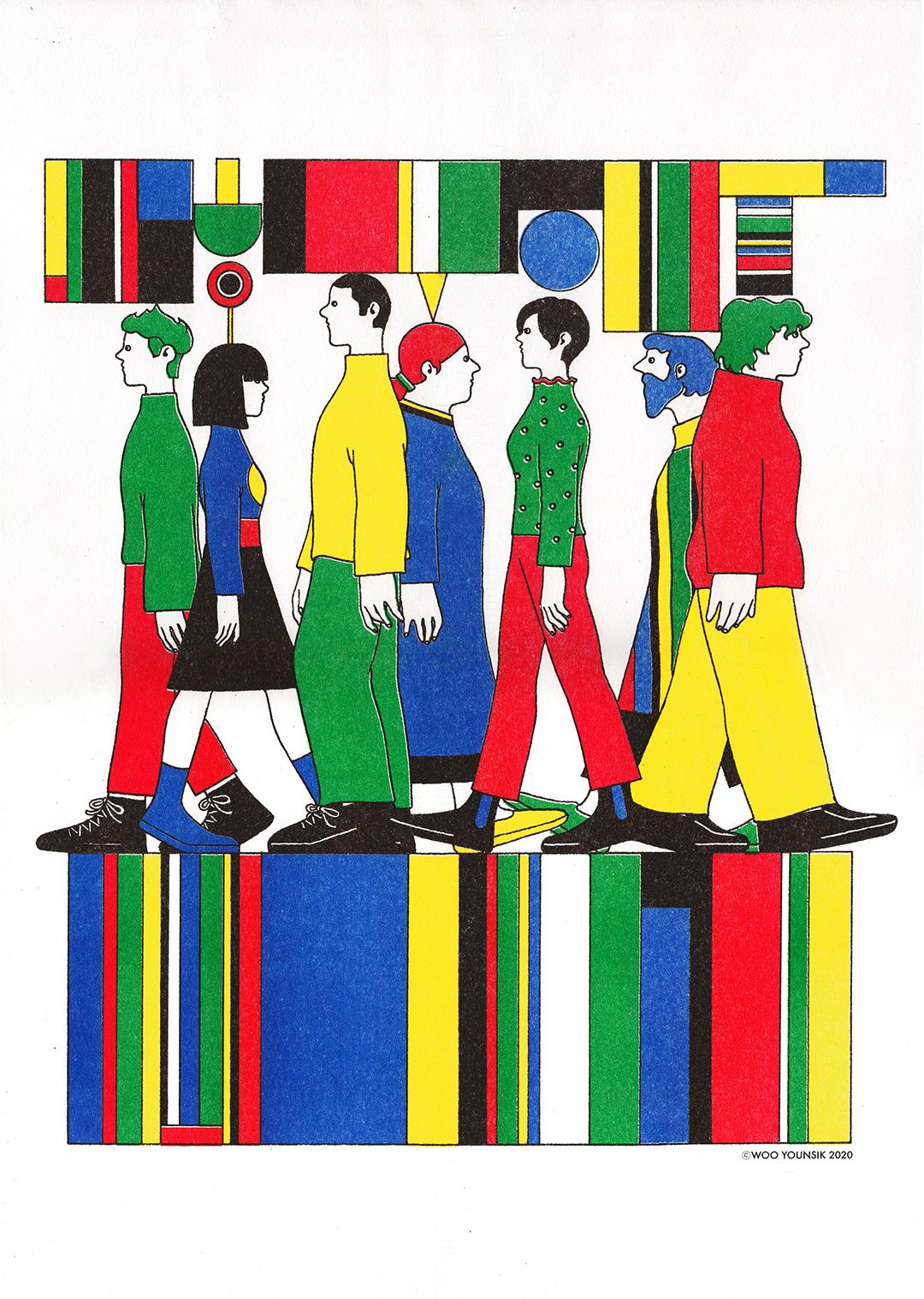 GirlsclubAsia-Illustrator-Younsik Woo-03-Walking as a part_Risograph_2020