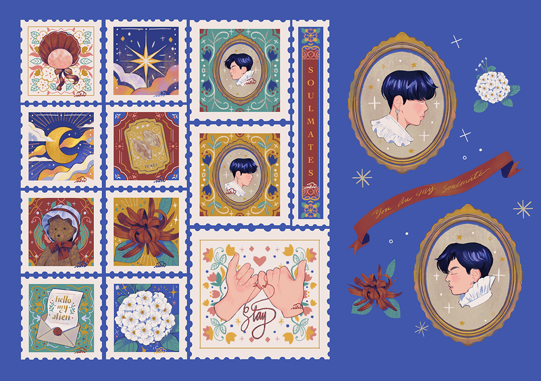 GirlsclubAsia-Illustration-Enid Din-vmin-a5_blue-stickers-stamps