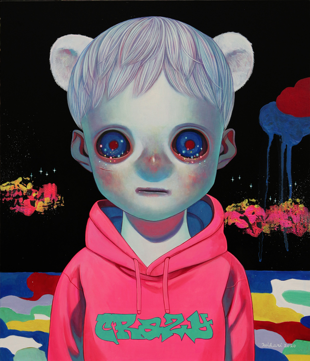 GirlsclubAsia-Artist-Hikari Shimoda_Hidden in the Night (Polar Bear)_Oil on canvas_20.9 x 17.9