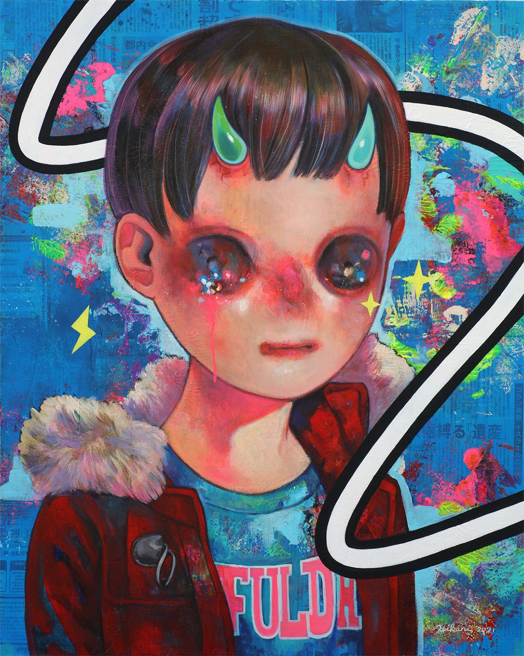 GirlsclubAsia-Artist-Hikari Shimoda_Living Now #1_Acrylic, oil and newspaper on canvas_35.8 x 28.6