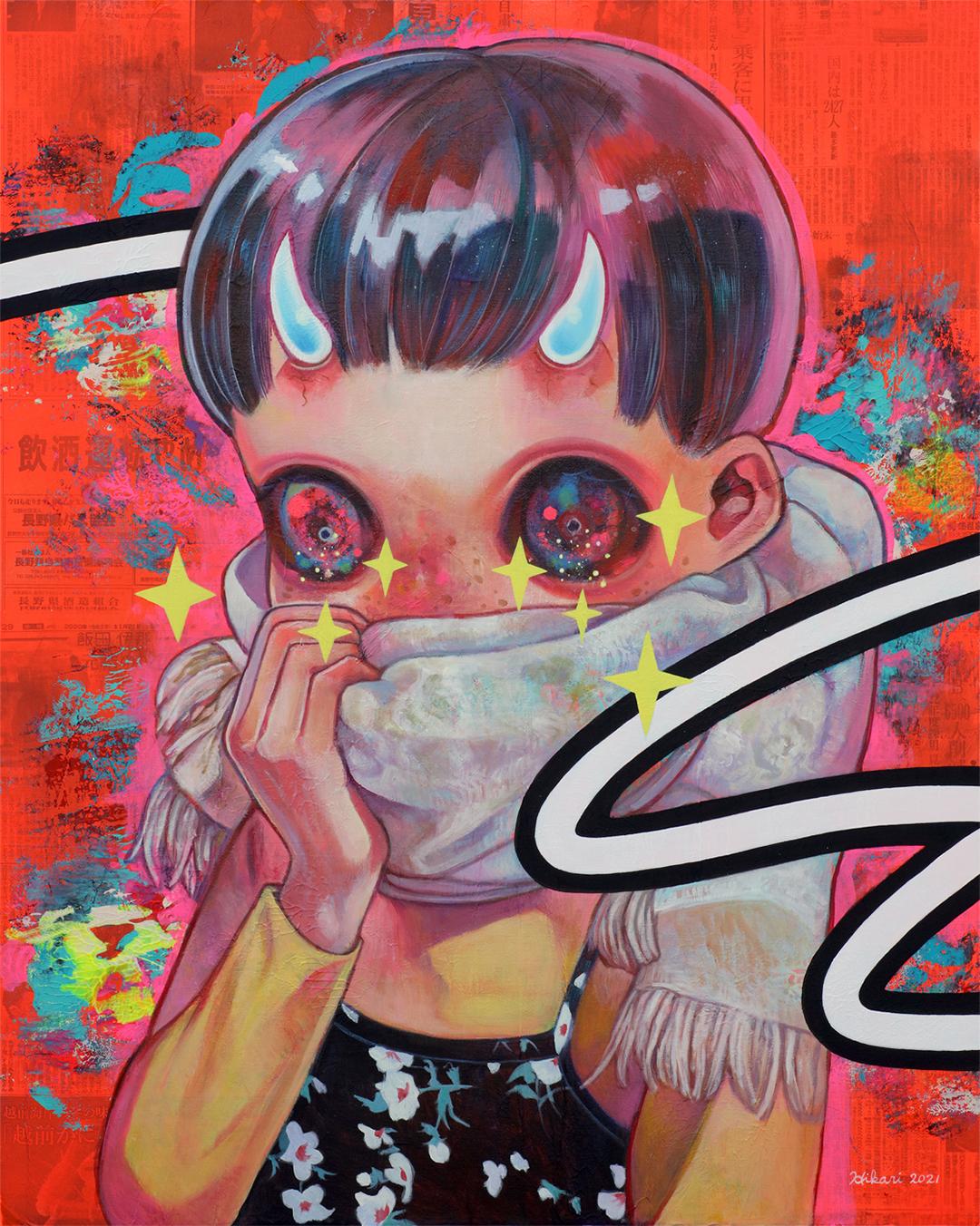 GirlsclubAsia-Artist-Hikari Shimoda_Living Now #2_Acrylic, oil and newspaper on canvas_35.8 x 28.6