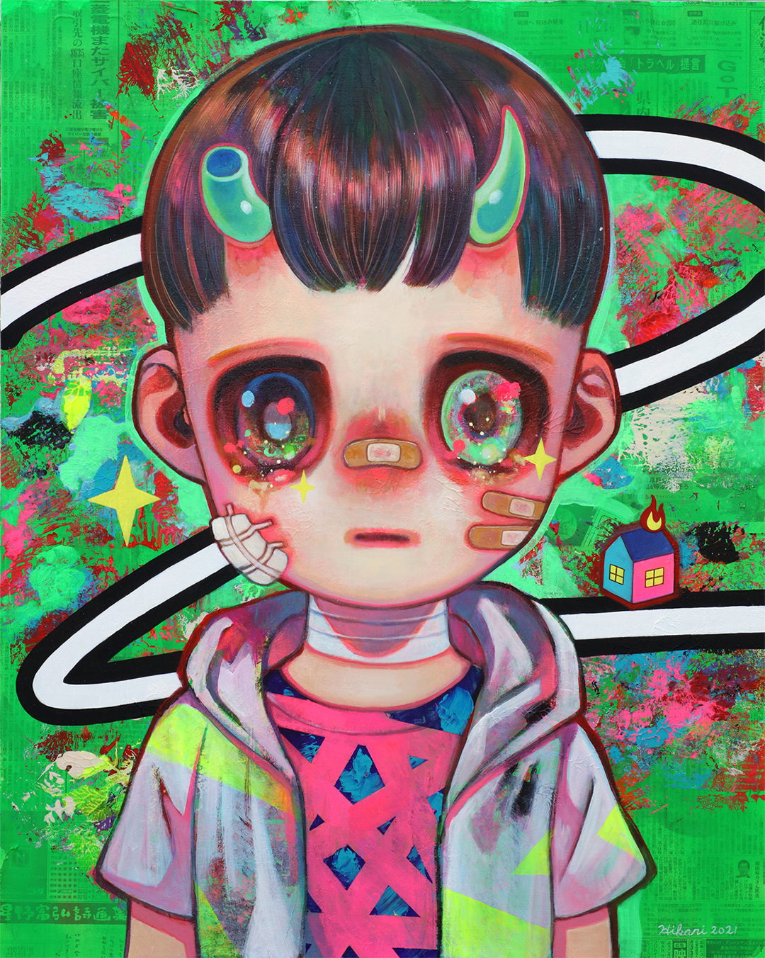 GirlsclubAsia-Artist-Hikari Shimoda_Living Now #3_Acrylic, oil and newspaper on canvas_35.8 x 28.6