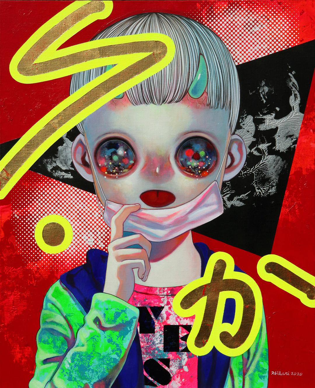 GirlsclubAsia-Artist-Hikari Shimoda_People with Intentions #2_Acrylic, oil, gold leaf on canvas_25.7 x 20.9