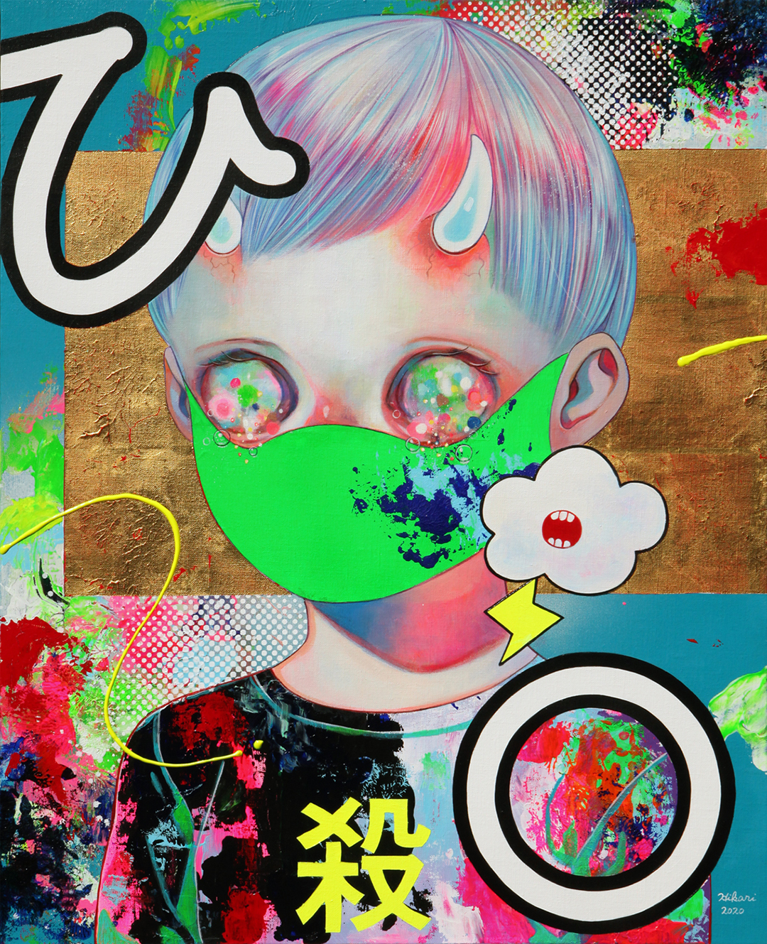 GirlsclubAsia-Artist-Hikari Shimoda_People with Intentions #3_Acrylic, oil, gold leaf on canvas_25.7 x 20.9