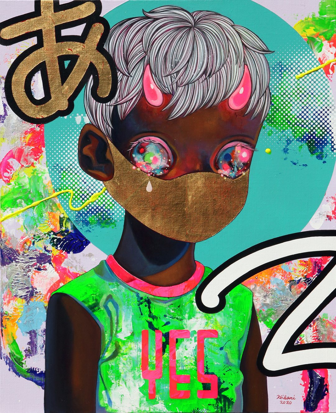 GirlsclubAsia-Artist-Hikari Shimoda_People with Intentions #4_Acrylic, oil, gold leaf on canvas_25.7 x 20.9