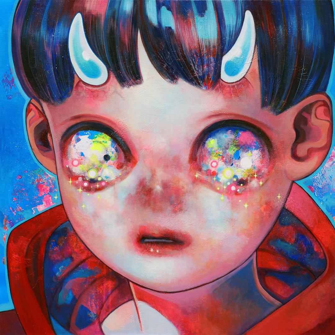 GirlsclubAsia-Artist-Hikari Shimoda_Touch the Heart_Oil and acrylic on canvas, mounted on panel_28.6 x 28.6